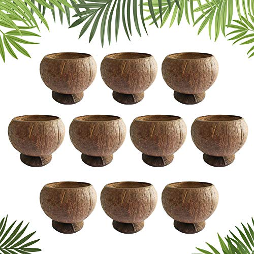 Natural Coconut Shell Cups, 12oz Hawaiian Theme Luau Party Cups Supplies,10 Pack…
