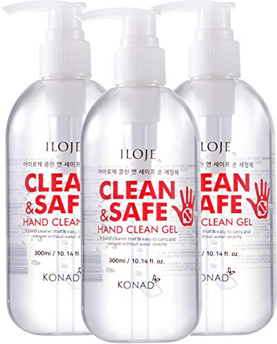 Hand Sanitizer Gel with Aloe Vera Moisturizing Scented 10.14 oz Pump Bottles (Pack of 3) for School and Car Cup Holder Size 300ml Alcohol 62% Bulk