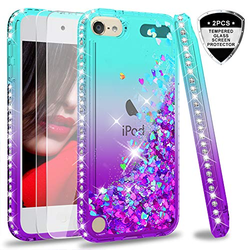 iPod Touch 7 Case, iPod Touch 6 Case, iPod Touch 5 Case with Tempered Glass Screen Protector [2 Pack] for Girls, LeYi Glitter Liquid Clear Phone Case for Apple iPod Touch 7th/ 6th/ 5th Gen Teal/Purple