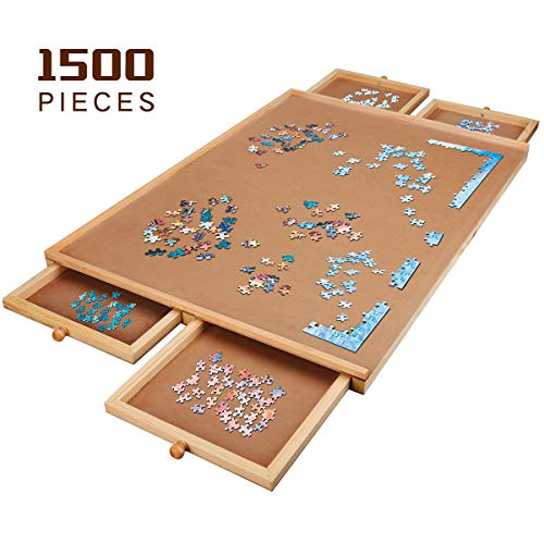 Kerrogee Wooden Puzzle Table/Board, Making Bit and Pieces Storage Conveniently, with 4 Drawers, Perfect Chioce for Gift,Party, for Both Children and Adults(34'×26')
