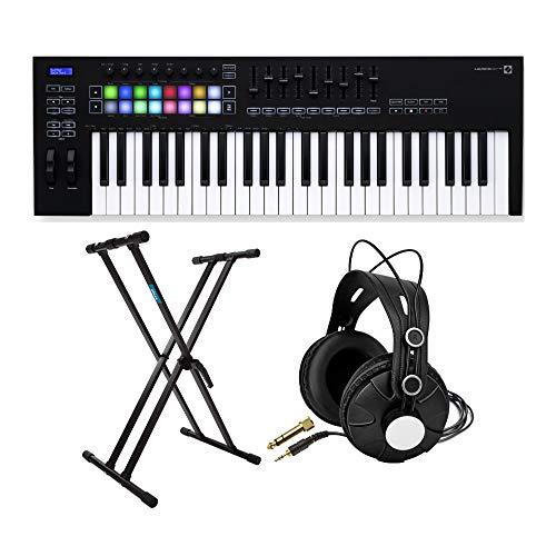 Novation Launchkey 49 MK3 49 Key USB MIDI Keyboard Controller Bundle with Knox Studio Headphones and Keyboard Stand (3 Items)