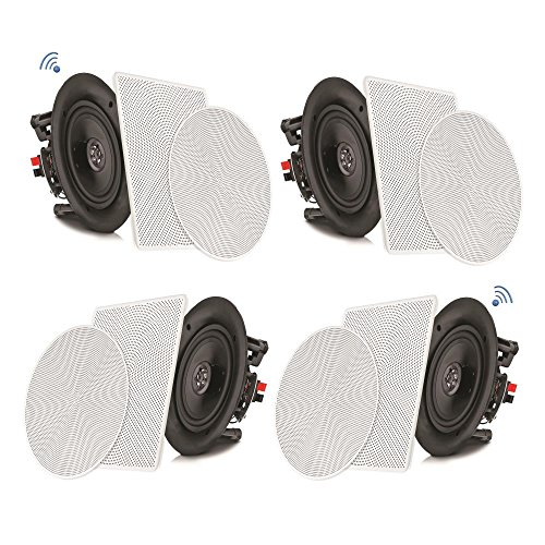 """Pyle 8"""" 4 Bluetooth Flush Mount - In-wall In-ceiling 2-Way Speaker System Quick Connections Changeable Round/Square Grill Polypropylene Cone & Tweeter Stereo Sound 4 Ch Amplifier 250 Watt - PDICBT286"""