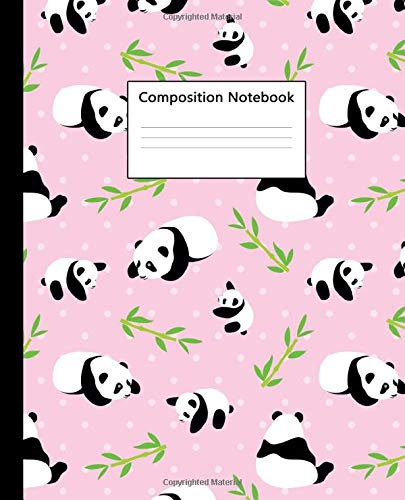 Composition Notebook: Pretty Wide Ruled Paper Notebook Journal   Cute Baby Pink Bamboo & Panda Wide Blank Lined Workbook for Teens Kids Students Girls for Home School College for Writing Notes.