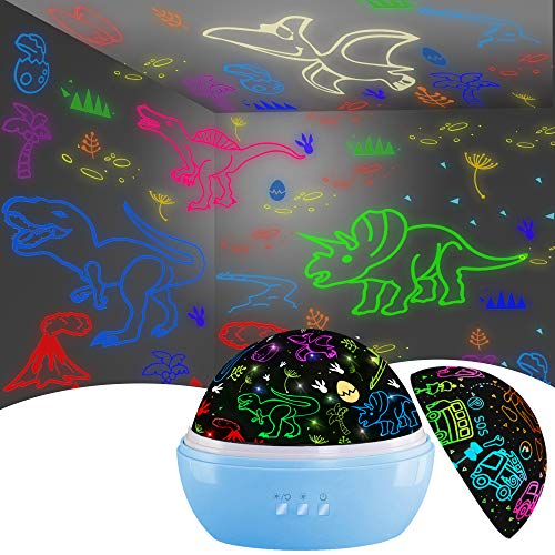 Night Light for Kids,Dinosaur Decor Boys Room,Projection and Night Light Mode 360° Rotation Lamp with 16 Colors,Toddler Children Nursery Room Light for Boys Girls Christmas Gifts