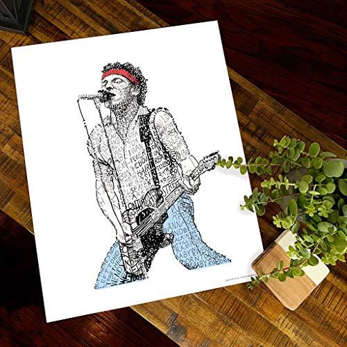 Bruce Springsteen Word Art - Unframed 16x20 - Handwritten with the Lyrics to Born to Run - Springsteen Gifts & Decor