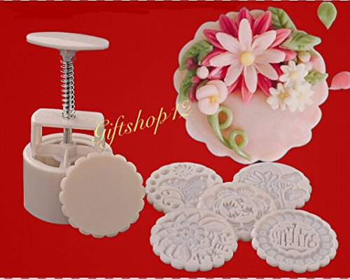 Giftshop12 White Mooncake Moon Cake Molds , Traditional, Cookie Cutter Molds 125g