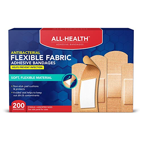 All Health Fabric Adhesive Bandages, Assorted Sizes Variety, Helps Prevent Infection, Flexible Protection for First Aid and Wound Care Antibacterial 200 Count
