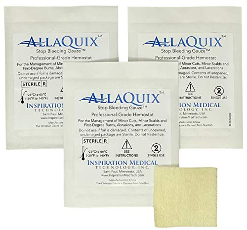 AllaQuix Stop Bleeding Gauze (Large 2-inch Square) (3-Pack) Professional-Grade First-Aid Hemostatic Gauze (Blood Clotting Bandage)