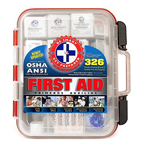 Be Smart Get Prepared First Aid Kit Hard Case, Red, 326 Piece Set