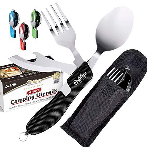 Orblue 4-in-1 Camping Utensils, 2-Pack, Portable Stainless Steel Spoon, Fork, Knife & Bottle Opener Combo Set - Travel, Backpacking Cutlery Multitool, Black