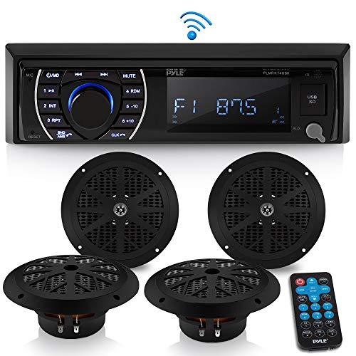 Marine Head Unit Receiver Speaker Kit - In-Dash LCD Digital Stereo Built-in Bluetooth & Microphone w/ AM FM Radio System 6.5'' Waterproof Speakers (4) MP3/SD Readers & Remote Control - Pyle PLMRKT48BK