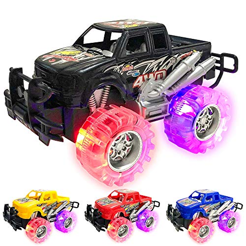 Light Up Monster Truck Set for Boys and Girls by ArtCreativity - Set Includes 4, 6 Inch Monster Trucks with Beautiful Flashing LED Tires - Push n Go Toy Cars Fun Gift for Kids - for Ages 3+