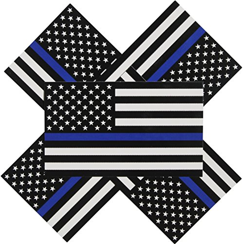 Thin Blue Line Flag Decals - 3x5 in. Black White and Blue American Flag Stickers for Cars and Trucks - in Support of Police and Law Enforcement Officers (5-Pack)