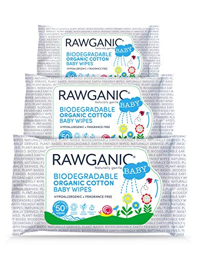 RAWGANIC Gentle Biodegradable Organic Cotton Baby Wipes | Hypoallergenic Fragrance-Free Moist Wipes for Nappy Change, Face and Body Cleansing | with Aloe Vera | 3 Packs of 50 (150 Wipes)
