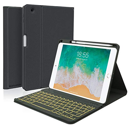 Keyboard case for iPad 5th/6th Generation 2017/2018, 9.7 Inch iPad Air 2 Case with Keyboard, Removable Wireless Backlit Keyboard Detachable, Folio Smart Cover, Tablet Case with Pencil Holder(Black)