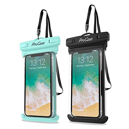 ProCase Universal Waterproof Case Cellphone Dry Bag Pouch for iPhone 12 Pro Max 11 Pro Max Xs Max XR XS X 8 7 6S Plus SE 2020, Galaxy S20 Ultra S10 S9 S8/Note 10 9 up to 7' -2 Pack, Green/Black