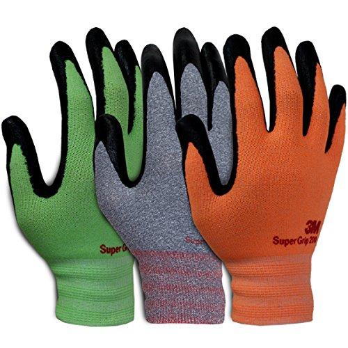 3M Super Grip Garden Work Gloves- 3 PACK (Medium)