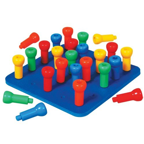 Constructive Playthings Set of 25 Hold-Tight Stacking Pegs and One 8' sq. Rubber Like Pegboard