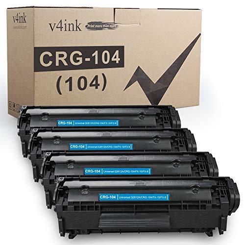 V4INK 4-Pack Compatible Toner Cartridge Replacement for Canon 104 CRG-104 FX-9 FX-10 Toner Cartridge Ink for use in Canon Imageclass D420 D450 D480 MF4150 MF4350D MF4270 MF4370DN MF4380DN Printer
