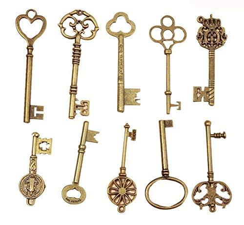 JKLcom Mixed 10 Skeleton Keys Antique Bronze Finish Skeleton Keys Extra Large Vintage Skeleton Keys for Birthday Party Wedding Decoration DIY Crafts Favors Charms Pendant,10 Styles