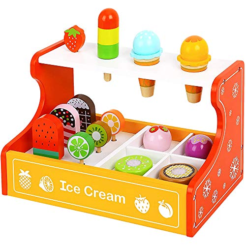 Toy Chest Nyc Wooden Ice Cream Parlor Playset for Kids 3 Years and Up - 15-Piece Ice Cream Toys with Ice Cream Counter, Frozen Treats, Ice Cream Toppings, Frozen Fruit Pops, Ice Pops, and Cones