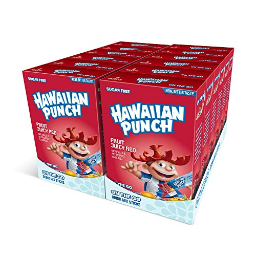 Hawaiian Punch, Fruit Juicy Red– Powder Drink Mix - (12 boxes, 96 sticks) – Sugar Free & Delicious, Excellent source of Vitamin C, Makes 96 flavored water beverages