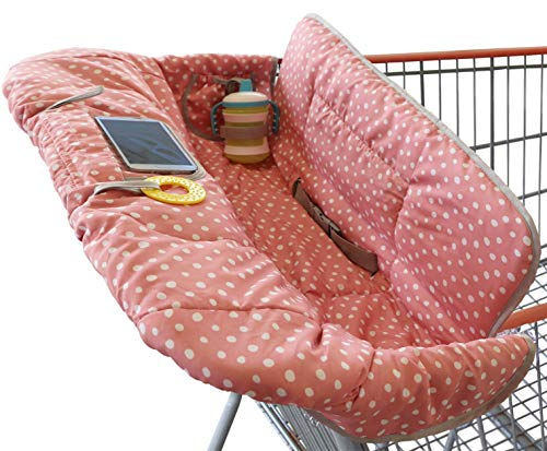 Shopping Cart Cover for Baby or Toddler | 2-in-1 High Chair Cover | Universal Fit | Includes Carry Bag | Machine Washable | Fits Restaurant Highchair | Perfect for Girl (Pink Dots)