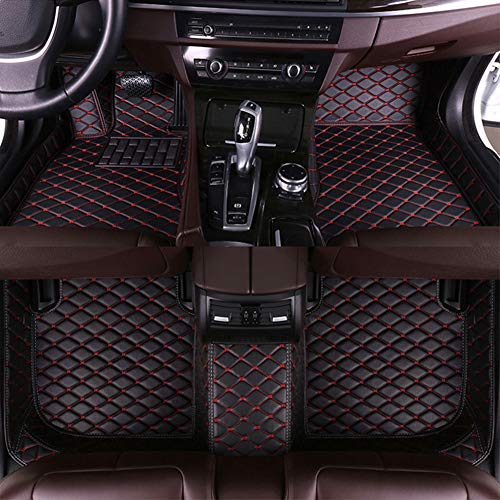 8X-SPEED Custom Car Floor Mats for Lexus GS350 2012-2017 Full Coverage All Weather Protection Waterproof Non-Slip Leather Liner Set Black red