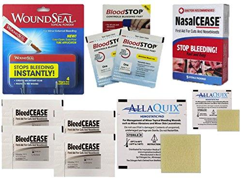 Ultimate Stop Bleeding Kit with Woundseal, NasalCEASE, BleedCEASE, BloodSTOP, and AllaQuix Stop Bleeding Gauze