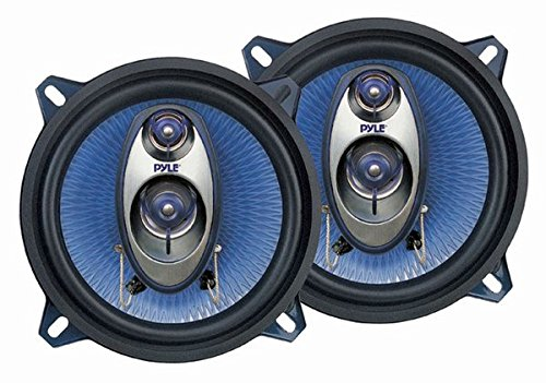 """5.25"""" Car Sound Speaker (Pair) - Upgraded Blue Poly Injection Cone 3-Way 200 Watt Peak w/Non-fatiguing Butyl Rubber Surround 100-20Khz Frequency Response 4 Ohm & 1' ASV Voice Coil - Pyle PL53BL"""