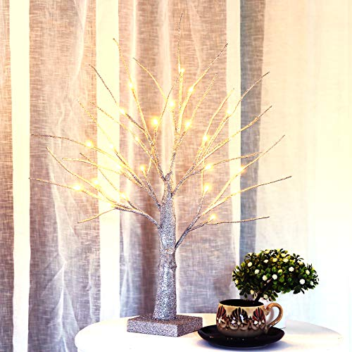 Bolylight LED Table Lamp Birch Money Tree Gift Holder Night Light Centerpieces Great Decoration for Home/Christmas/Party/Festival/Wedding, 1.5ft Silver