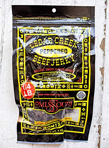 Cedar Creek   Air-Dried Thinly Sliced   4oz pack   No Artificial Preservatives   Grass Grain Fed Beef   Clean Healthy Snack (Peppered)
