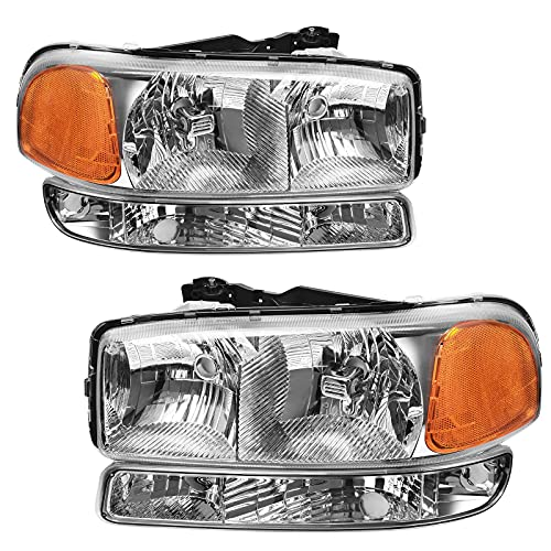 AUTOSAVER88 Headlight Assembly Compatible with 99-06 GMC Sierra 1500 2500 3500/00-06 GMC Yukon Headlight Assembly + Park/Signal Headlamp Chrome Housing
