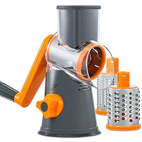 Rotary Cheese Grater Handheld, Vegetable Mandoline Slicer Easy Cleaning, Kitchen Cheese Grater Shredder with 3 Drum Blades