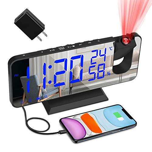 """Projection Alarm Clock for Bedroom, Large 7.4"""" LED Display Ceiling Digital Radio Alarm Clock with USB Charger and Dual Alarm, 3 Dimmer Thermometer Temperature Monitor for Kid Elderly Heavy Sleeper"""