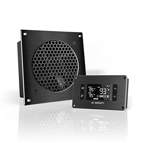 AC Infinity AIRPLATE T3, Quiet Cooling Fan System 6' with Thermostat Control, for Home Theater AV Cabinets
