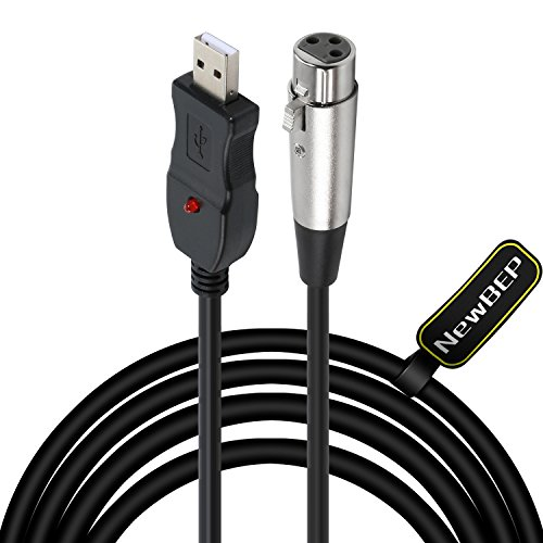 USB Microphone Cable, NewBEP 3 Pin USB Male to XLR Female Mic Link Converter Cable Studio Audio Cable Connector Cords Adapter for Microphones or Recording Karaoke Sing,3M(USB Microphone Cable)