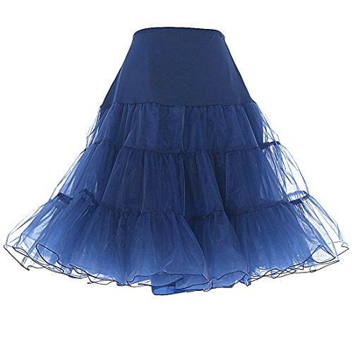 Dresstells Women's Vintage Rockabilly Net Petticoat Skirt Tutu Navy Small/Medium
