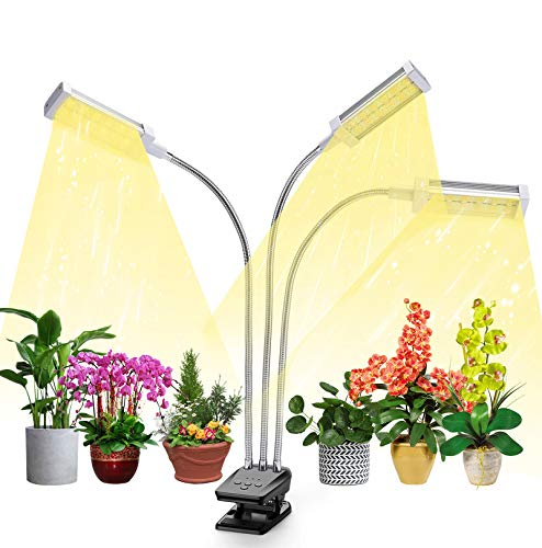 Plant Grow Light, VOGEK LED Growing Light Full Spectrum for Indoor Plants with Timer, Plant Growing Lamps for Seedlings with Adjustable Gooseneck & Desk Clip On, 3 Switch Modes 10 Brightness Settings