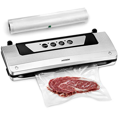 Vacuum Sealer for Food, Aicook 4 in 1 Automatic Food Saver Machine with Starter Kit Rolls, Dry & Moist Food Modes for Sous Vide, Easy to Clean, Compact Design