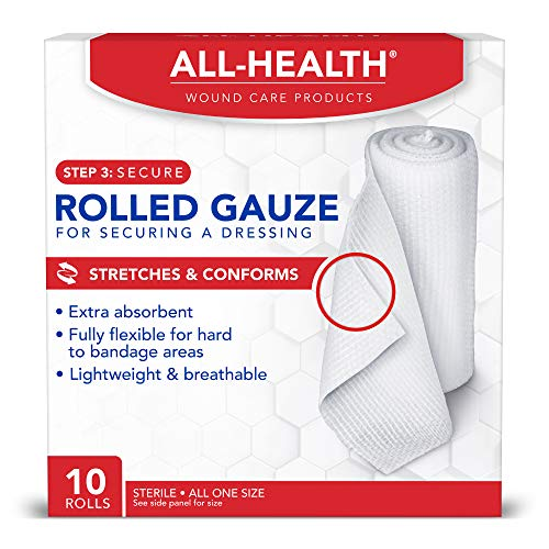 All Health Rolled Gauze Pads, 3 X 2.5 Yds | for Cleaning or Covering Wounds as Wound Dressing, Helps Prevent Infection, Rolls White 10 Count