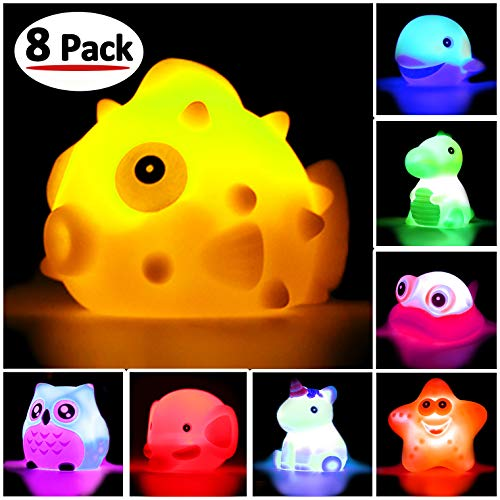 Bath Toys, 8 Pcs Light Up Floating Rubber animal Toys set, Flashing Color Changing Light in Water, Baby Infants Kids Toddler Child Preschool Bathtub Bathroom Shower Games Swimming Pool Party