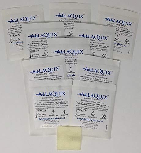 AllaQuix Stop Bleeding Gauze (Large 2-inch Square) (10-Pack) Professional-Grade First-Aid Hemostatic Gauze (Blood Clotting Bandage)