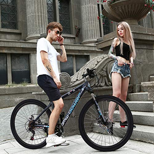 Junior Aluminum Full Mountain Bike, Stone Mountain 26 Inch 21-Speed ​​Bicycle,Student Outdoors Unisex Portable Bike,Outroad Mountain Bike (Blue)