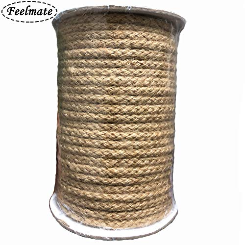 Feelmate 5mm Jute Twine, 100 Feet Braided Natural Jute Rope for Artworks and Crafts, Macrame Projects, Gardening Applications