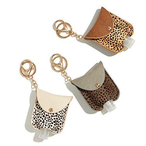 GussyUp [3 Pc/Set] Hand Sanitizer Holder Keychain, Leak-Proof Travel Size Portable Squeeze Bottle, Premium Leather Holder, Backpacks, purses, diaper bags, bags (Leopard Print 2 (Genuine Leather)