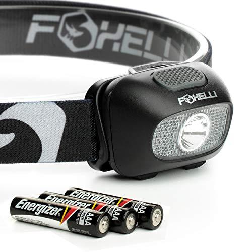 Foxelli Headlamp Flashlight - Bright LED Head Lamp with 9 Light Modes, 3 x AAA Batteries Operated (Included), Lightweight, Waterproof, Comfortable Head Light with Adjustable Headband