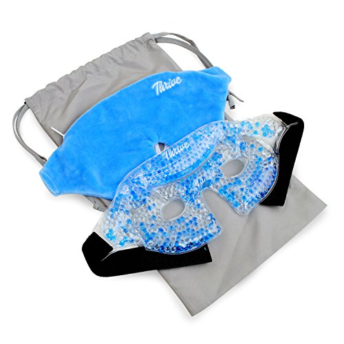 Eye Mask - Gel Beads Hot & Cold Compress Pack + Fabric Cover - Innovative Reusable Gel Beads Provides Both ice or Heat Pain Relief and Therapy Treatments. Great for migraines, Headaches + More