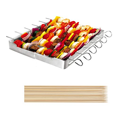 Unicook Heavy Duty Stainless Steel Barbecue Skewer Shish Kabob Set, 6pcs 13' L Skewer and Foldable Grill Rack Set, Durable and Reusable, Bonus of 50pcs 12.5' L Bamboo Skewers for Party and Cookout