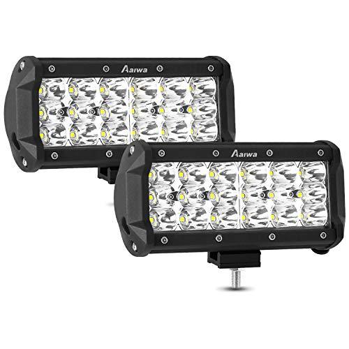 AAIWA LED Light Bar 7 Inch LED Pod Lights 54W Spot LED Off Road Lights Triple Row LED Work Light Bar Driving Fog Lights for Truck ATV SUV Boat Jeep